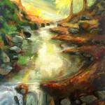 Plastická krajina - olej na plátně