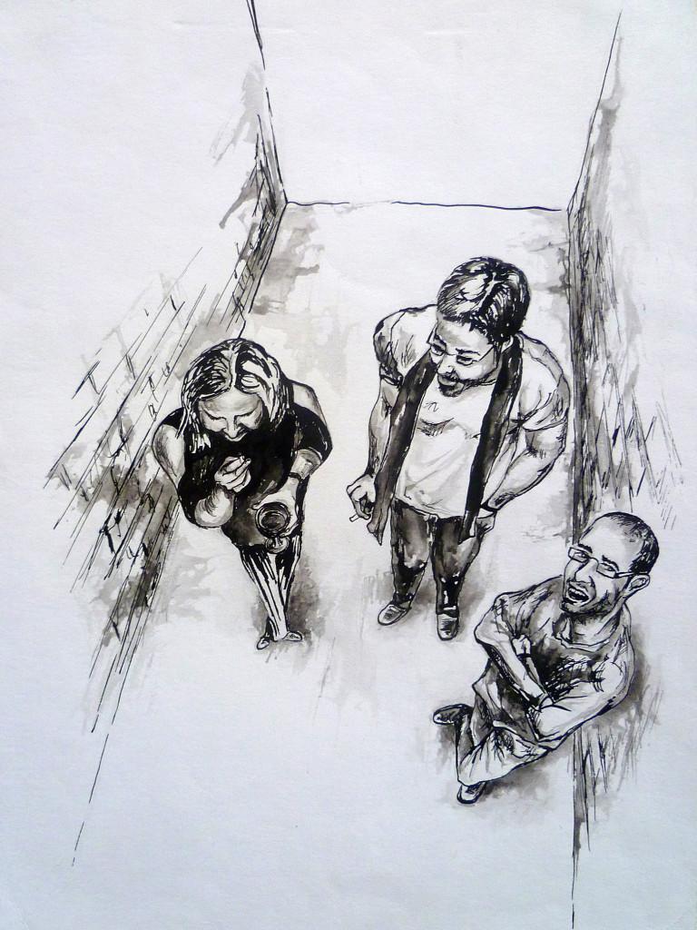 Perokresba - portrét přátel