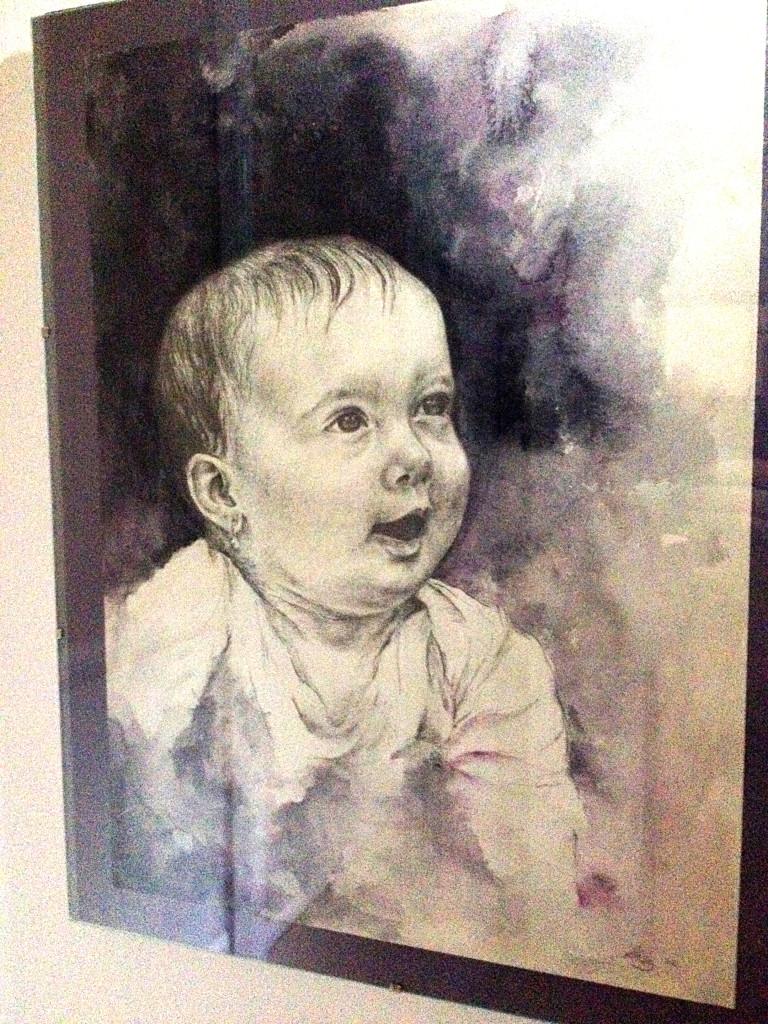 Portrét - akvarel, tužka