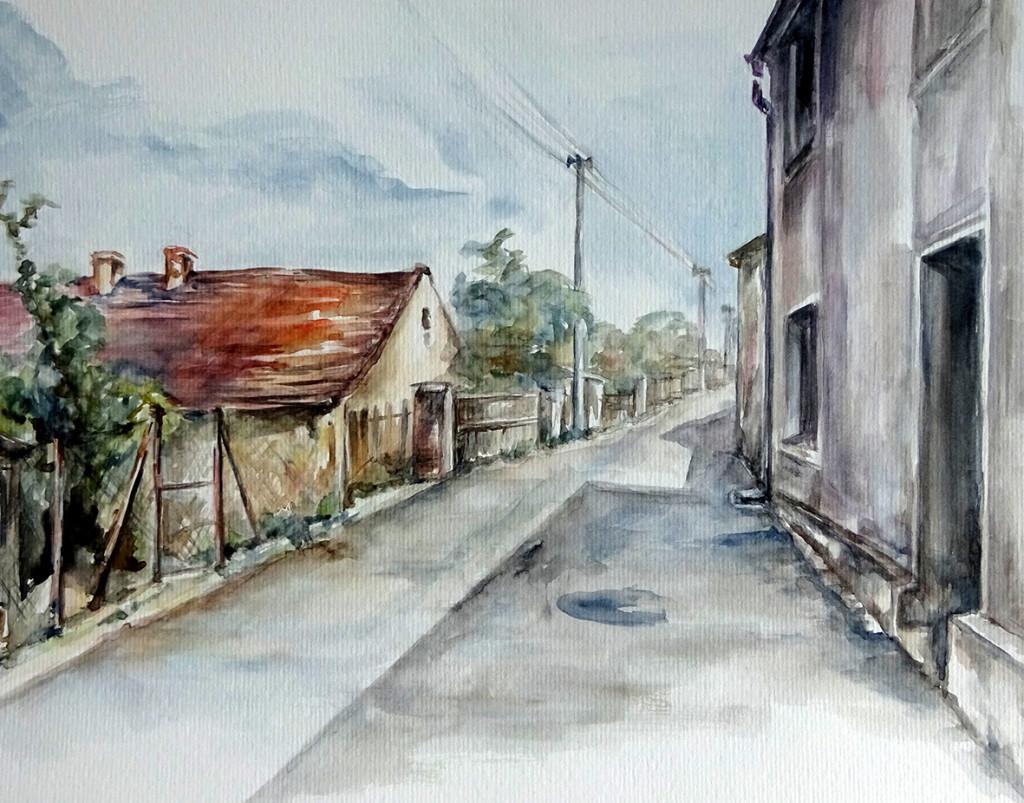 Zmizelé Kladno - akvarel